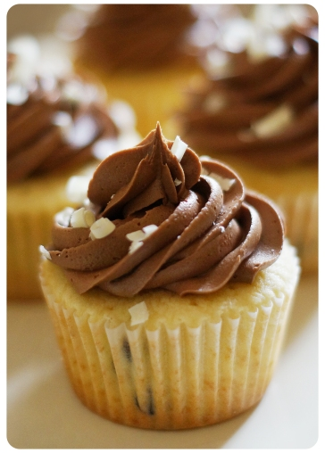 Chocolate Chip Cupcakes with Chocolate Buttercream & White Chocolate Shavings