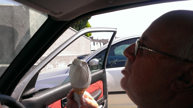 "Michael and his ""Whippy Cone."""